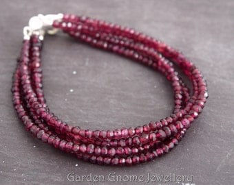 4 Strand Red Garnet Sterling Silver Bracelet | January Birthstone | Pomegranate Seeds