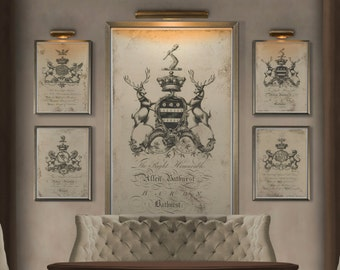 Coat of Arms Print #5 : Family Crest -  18th C. English Armorial Engravings print poster - Heraldy print