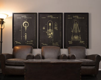 Patent Prints : 3 Vintage Edison Light Bulb Patent prints - SAVE 20% BUYING ALL 3
