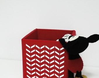 Fun design print on red toy storage bin box basket container modern nursery kids room