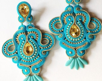 Statement soutache elegant earrings turquoise gold