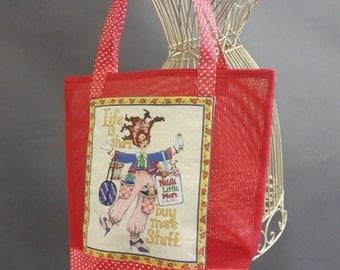 Mesh Tote. 'Life is Short, Buy More Stuff' Red Bag with Shoulder Straps. Front Pocket. Project, Market or Beach Bag. From MDS Creative.