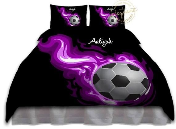 Purple Flames Soccer Comforter Queen Twin King Girls Soccer