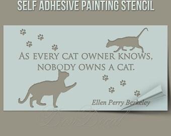 Cat wall stencil etsy - Schablone wandmalerei ...