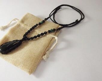 Handmade Necklace - Obsidian & Malachite