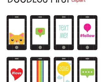 Smart Phones Digital Clip Art for Scrapbooking Card Making Cupcake Toppers Paper Crafts
