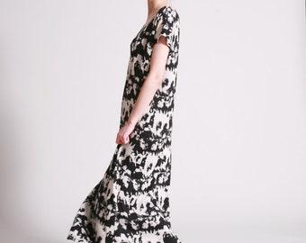 Summer Maxi Dress, Print Dress In Black And White, Summer Dress Boho, Loose Fit, Long Summer Dress, Casual Dresses