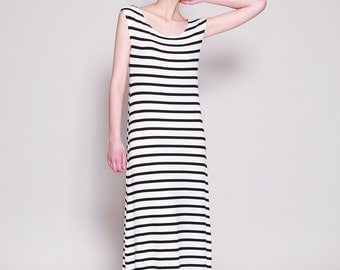 Striped Dress, Black White Stripe Dress, Maxi Dress, Summer Dress, Sleeveless, Loose Fit, Long Dress, Casual Dresses