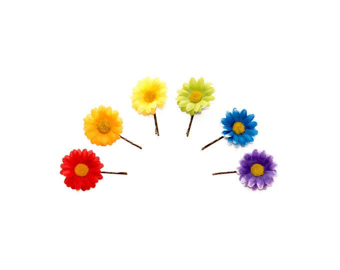 Rainbow Flower Hair Pin Set