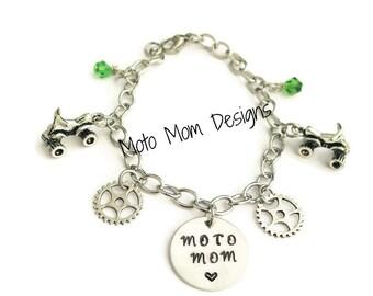 Moto Mom Charm Bracelet - Motocross Jewelry - Dirt Bike - Racing Jewelry - Motocross Bracelet - ATV Jewelry - Motocross Gifts - Moto Mom