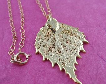 Genuine Gold Birch Leaf/Real Leaf Necklace/Nature Jewelry/Botanical Necklace/Authentic Gold Birch Leaf/Real Birch Necklace