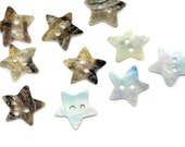 Mother of Pearl Star Sewing Buttons - 13x13mm - Sold Per Pack of 16