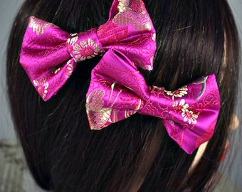 Small Pink Silk Flower Pattern Hair Bow