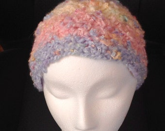 Hand-Knit Pastel Multi-Colored Lace Beanie