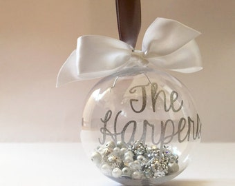 Personalised Christmas Bauble for the Family - Name and Year - Filled with Sparkly Things / Beads / White / Silver