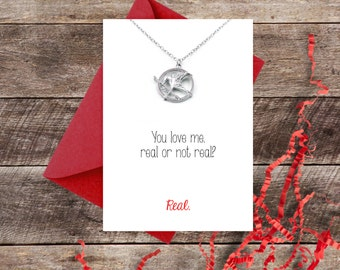 Hunger Games Card and Necklace Set - Love You True / Mockingjay