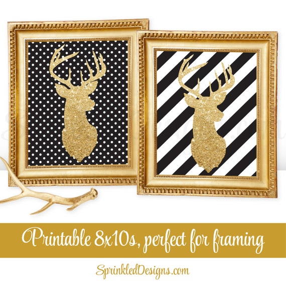 Printable Winter Wall Art - Gold Deer Head Wall Art, Black White ...