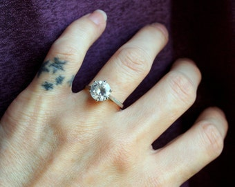 Vintage Round Sparkling CZ Cubic Zirconia Solitaire Engagement Promise Ring  Sterling Silver 925 High Setting! Looks like a Real Diamond