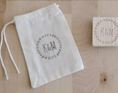 10 custom cotton bags for weddings and baby shower - with free handcarved stamp