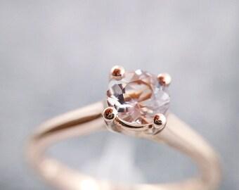 Rose Gold Engagement Ring, Morganite Ring, 14kt Rose Gold, Morganite, Aquamarine, Black Onyx, Black Spinel, White Topaz, Blue Topaz