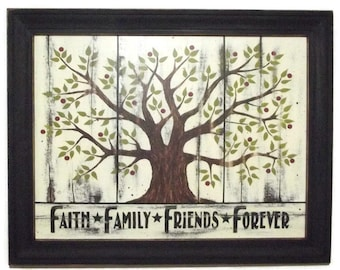 Primitive Picture, 'Faith Family Friends Forever', Art Print, Country Decor, Wall Hanging, Handmade, 28x22, Custom Wood Frame,  Made in USA