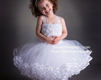 White Flower Girl Tutu Dress, White Couture Tutu Dress, White Ribbon Trim Tutu Dress, White Tutu Dress, Flower Tutu Dress, White Tutu