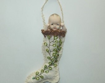Vintage Bisque Doll Inside Handmade Christmas Stocking
