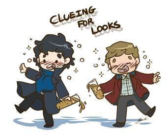 Clueing for Looks - BBC Sherlock - Fanart print Sherlock Homes John Watson