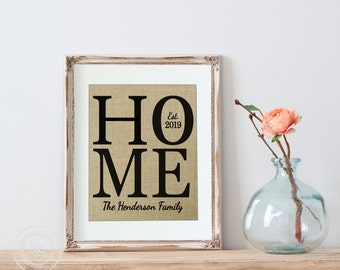 Personalized Burlap Love Housewarming Gift Print