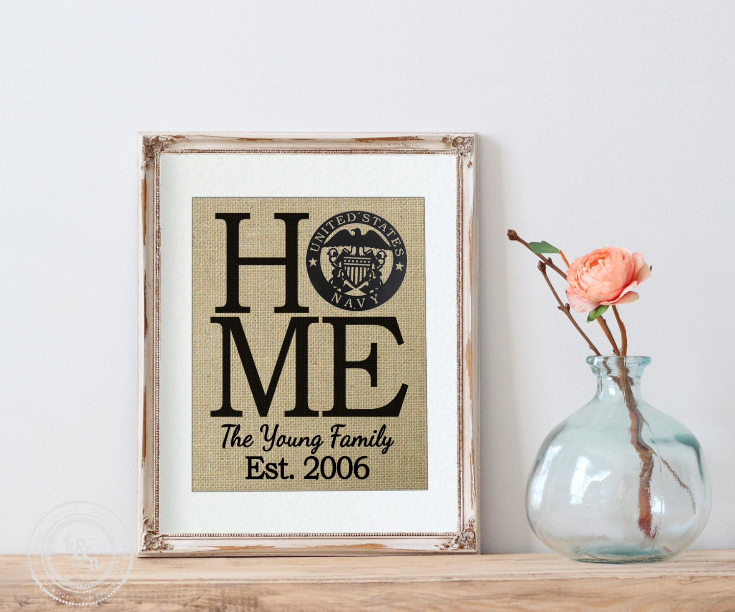 Personalized home military print white walls home decor for Personalized home decor