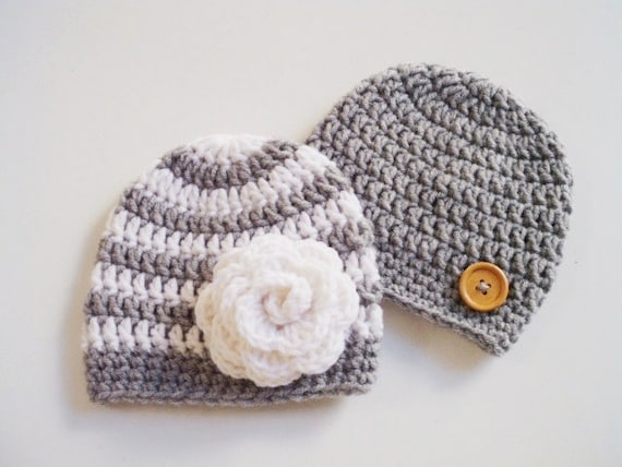 Crochet Hat Patterns For Twin Babies : Items similar to Newborn twin hats Twin girl boy hats ...
