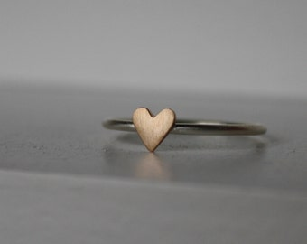 Tiny Heart Ring, Silver Stacking Ring, Bronze Stacking Ring, Mixed Metal Ring, Skinny Ring, Dainty Heart Ring, Minimalist Jewelry