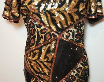 FREE  SHIPPING  Vintage Abstract Sequin Bead Dress