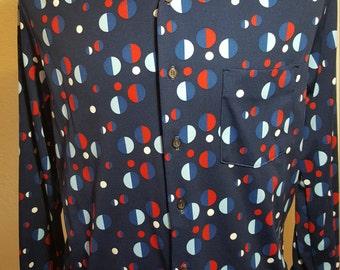 FREE  SHIPPING    Vintage Men 1970 Abstract Shirt