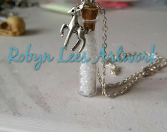"Glass Vial Bottle Necklace of ""Memories"" with a Silver Doe Deer Charm on Silver Crossed Chain"