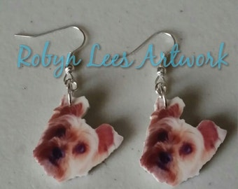 Printed Acrylic Yorkie Yorkshire Terrier Dog Charm Earrings on Silver Plated Hooks, Steel Posts with Butterfly Backs or Bronze Hooks