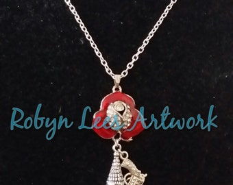 SALE Red Enamel and Crystal Rose Necklace with 3D Silver Tower and Small 3D Gun. Stephen King Dark Tower