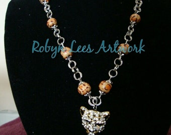 Silver and Gold Leopard Necklace with Golden Crystal Rhinestone Leopard Head, Wooden Leopard Print Beads,and Antiqued Silver Rope Chain