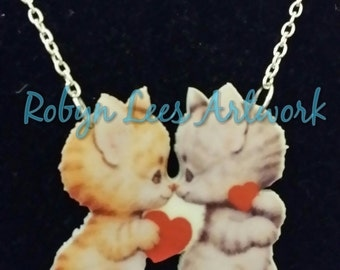 Adorable Kittens in Love Printed Acrylic Necklace with Cats and Hearts