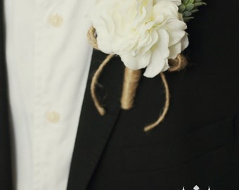 Rustic Boutonniere, Hydrangea Boutonniere, Rustic Buttonhole, Twine and Burlap Wedding, Groomsmen Flowers, Groom White Boutonniere