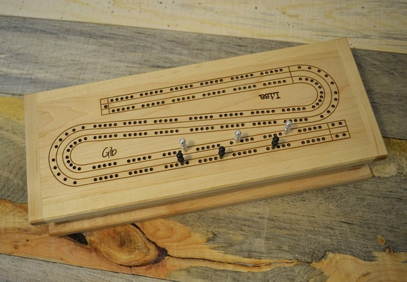 Cribbage Board and Box (handcrafted, two-track game with cards and pegs; can be personalized)