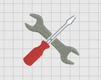 Wrench and Screwdriver Mini Embroidery Design in 1x1 2x2 3x3 and 4x4 inch Sizes