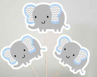 Elephant Centerpiece, Elephant Baby Shower Centerpiece, Elephant Birthday Centerpiece, Blue and Grey