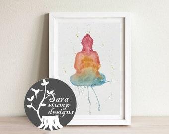 Sunrise Buddha Meditation Inspiration -  Watercolor Print; Painting; Wall Art