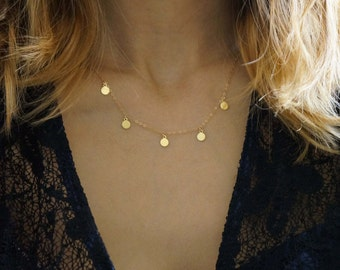 Tiny Flat Coins on a Delicate 14k Gold Filed Necklace