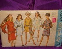 1960s 60s Vintage Mod Dress Mini or Short Length and Long Scarf COMPLETE Simplicity Pattern 8333 Bust 36 US 92 EU