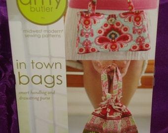 Handbag Pattern IN TOWN BAGS in 2 Styles by Amy Butler AB003IB Small Handbag Drawstring Purse