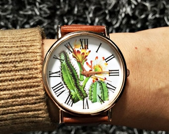 Cactus Plant Watch , Cactus Jewelry , Vintage Style Leather Watch, Women Watches, Succulents , Men's watch, Cactus Print, Watches, Gift,Sale