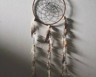 Large Moon Dream Catcher - Handmade Vegan Sued Leather Bohemian Minimalist Charm Genuine Feathers Home Decoration