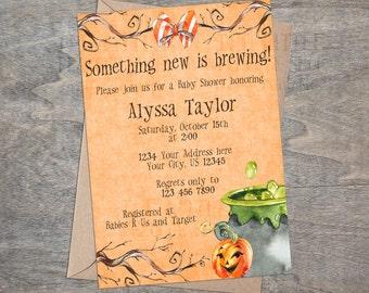 Halloween Baby Shower Invitation   Watercolor Pumpkin Witch Purple Cauldron Bubble Bow